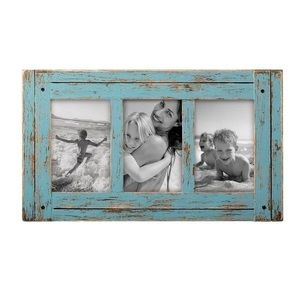 """Blue Distressed Photo Frame (holds 3 4x6"""" photos)"""